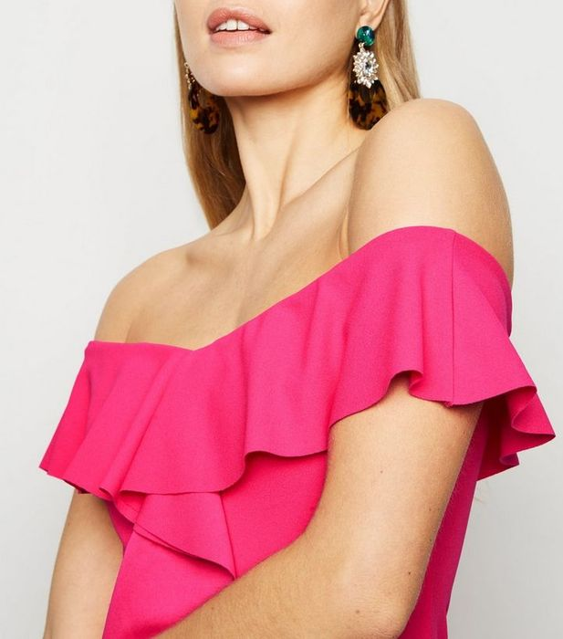 Bright Pink Ruffle Front Bardot Midi Dress