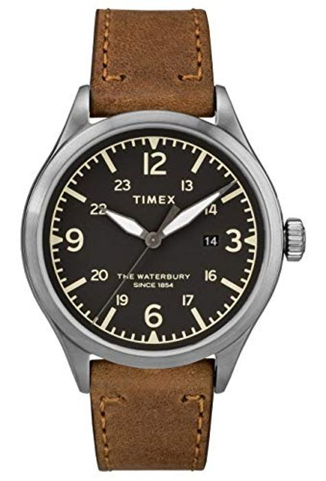 4 LEFT! save £46 TIMEX Mens Classic Watch, Leather Strap