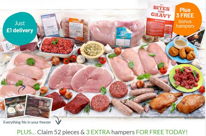 Buy 1 Meat Hamper Get 3 FREE - 172 Pieces / 50 Meals Just £52 At Muscle Food
