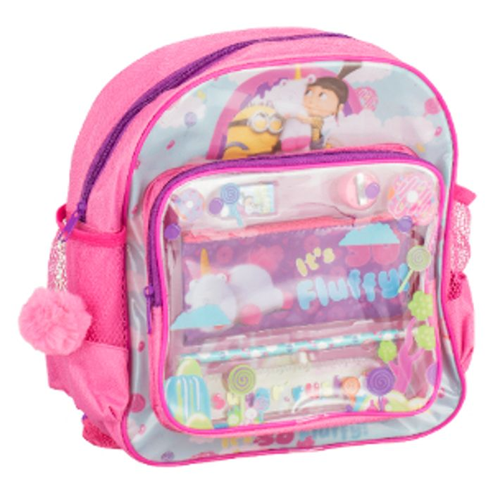 Despicable Me Fluffy Unicorn Backpack with Stationery
