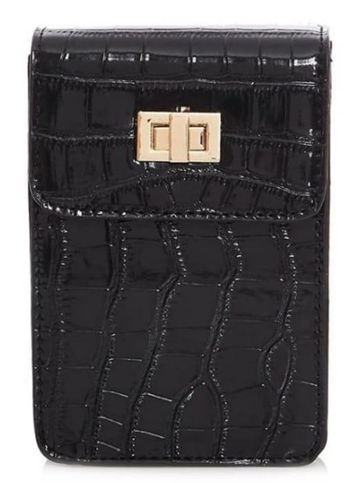 Quiz - Black Croc Micro Bag