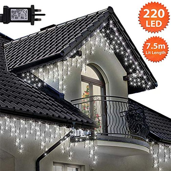 Icicle Lights 220 LED 7.5m Bright/Cool