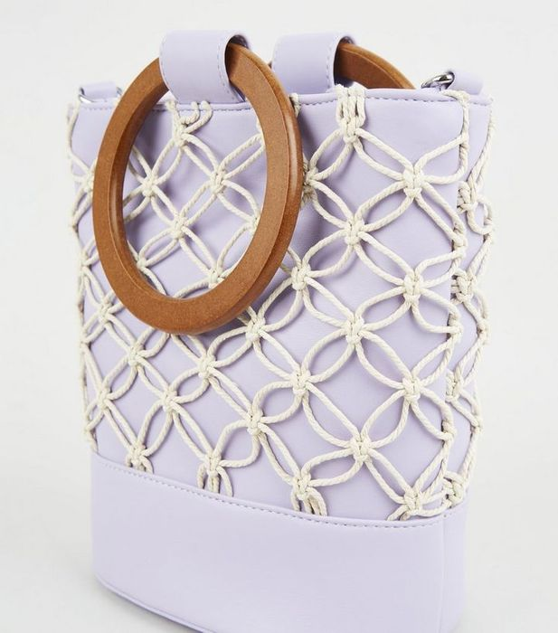 Lilac Leather Look Macrame Bucket Bag
