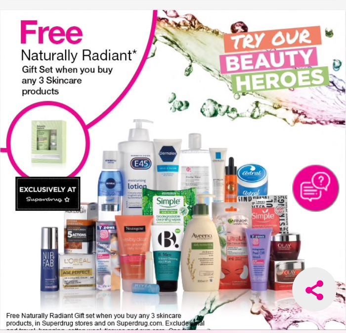 Free Skincare Set When You Buy Any 3 Skincare Products at Superdrug.