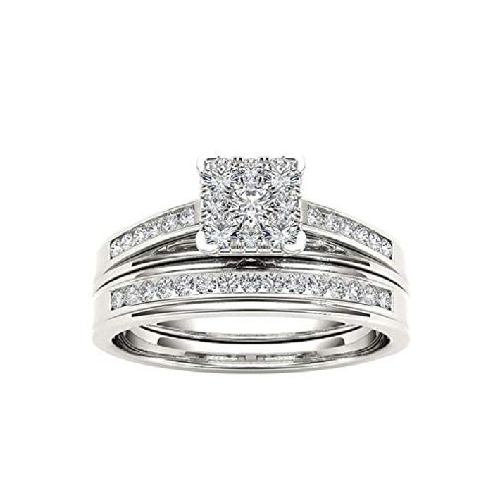Luxury Square Zircon Double Layer Engagement Bride Ring at Amazon