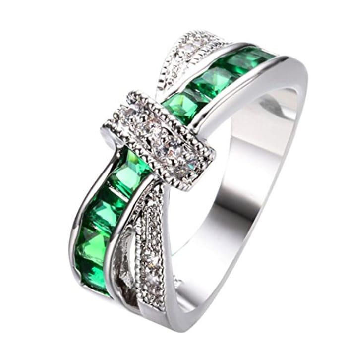 Ladies Emerald Cross Ring