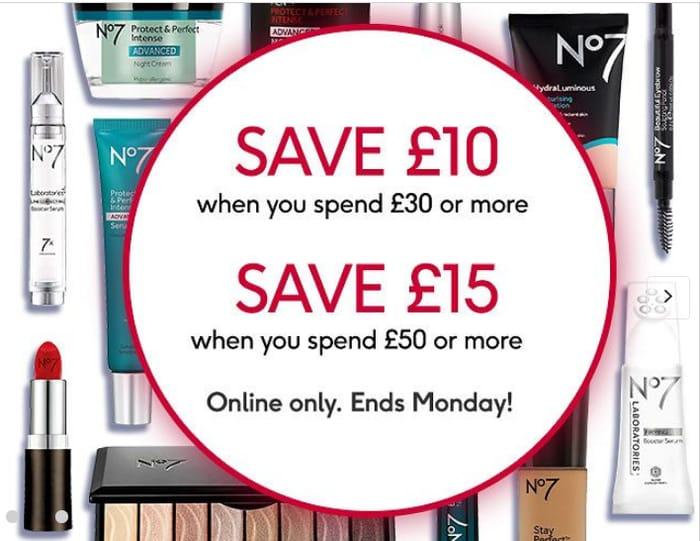 Save £10 When You Spend £30 or save £15 When You Spend £50 on All No7.