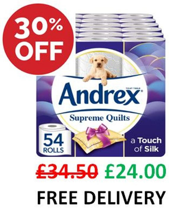SAVE £10.50 - Andrex Supreme Quilts Toilet Tissue, 54 Rolls