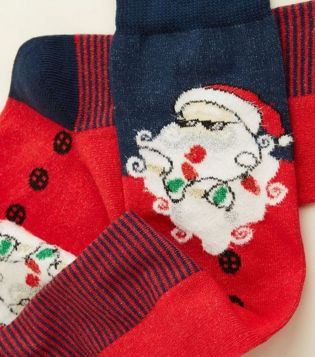 Navy Cool Santa Christmas Socks 85p with Code EXTRA15 at Checkout