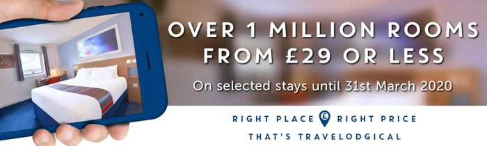 Travelodge - 1 Million Rooms from £29 or LESS
