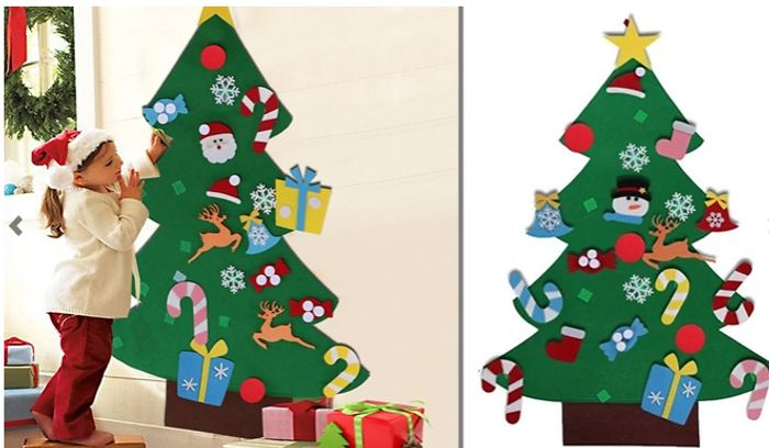 Cheap Hanging Velcro Christmas Tree with 26 Stick-on Decorations for £7.99!