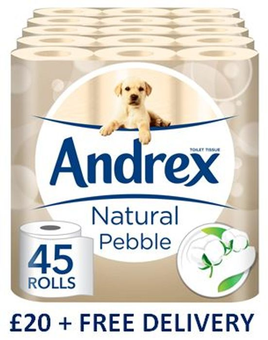 SAVE £6.25. Andrex Natural Pebble Toilet Tissue, 45 Rolls. FREE DELIVERY
