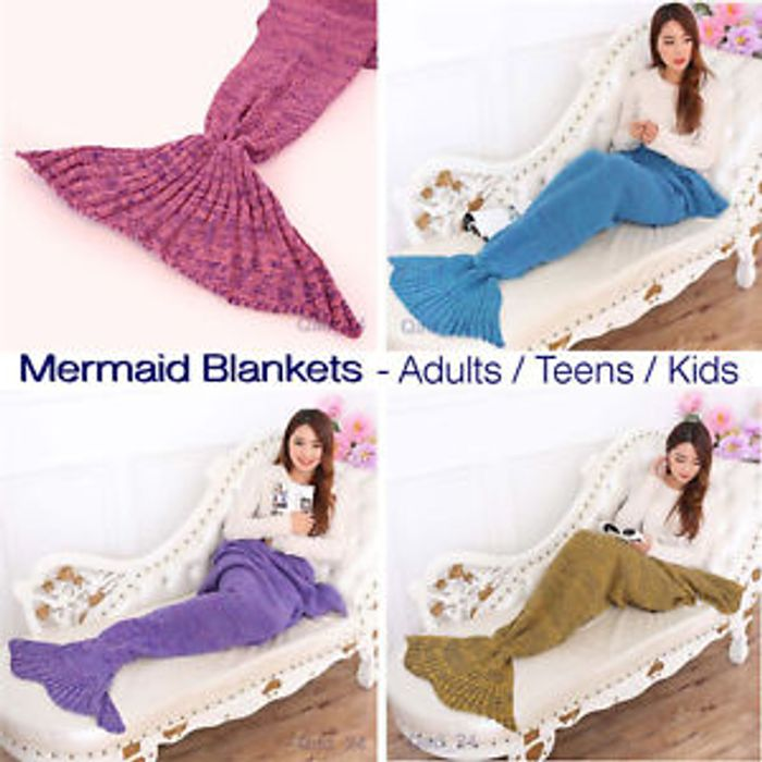 Best Price Mermaid Blanket - Girl Soft Fish Tail Scale Throw Snuggle Travel