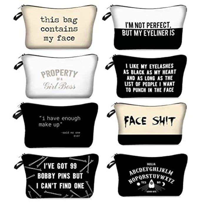 Makeup Bag Travel Simple Letters Prints