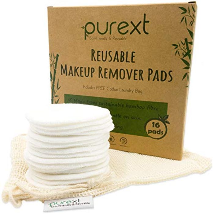 16 Eco-Friendly Bamboo Fibre Reusable Makeup Remover Cotton Pads with Bag