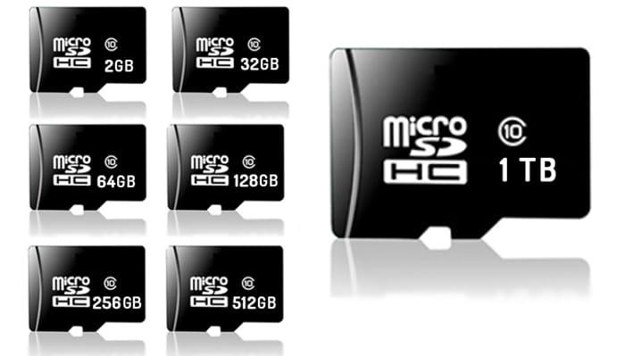 Micro SD Memory Card with Adaptor - 2, 32, 64, 128, 256, 512GB or 1TB