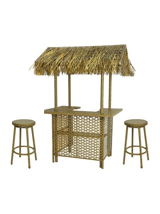 *HALF PRICE* John Lewis Rattan Tiki Bar & Stool Set