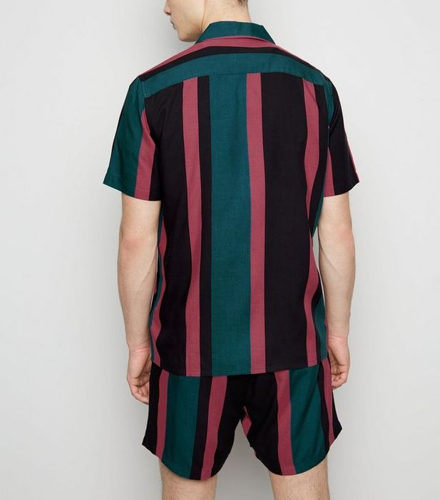 Black Vertical Stripe Revere Collar Shirt