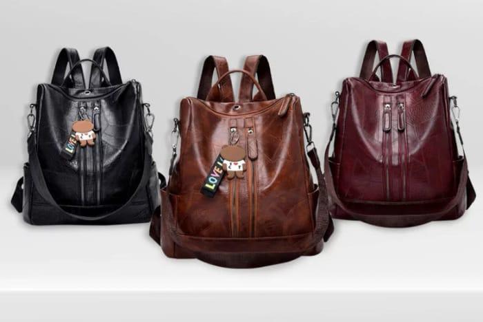 PU Leather Backpack & Shoulder Bag W/ Teddy Keyring - 3 Colours!