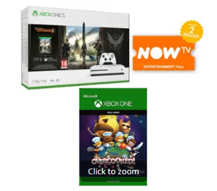 1TB XBOX ONE S with the DIVISION 2 + OVERCOOKED DIGITAL DOWNLOAD Only £249.99