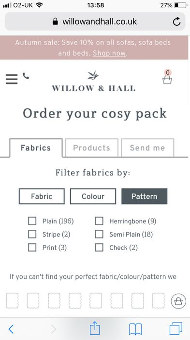 Order Ur FREE Cosy Pack from Willow and Hall