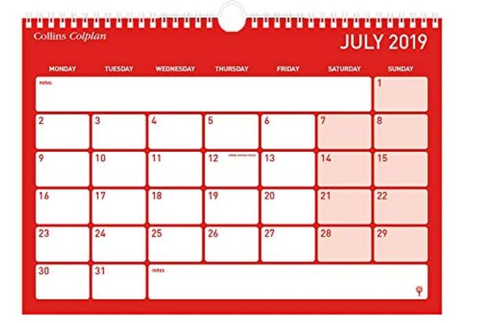 Collins Colplan A4 2019-2020 Memo Calendar