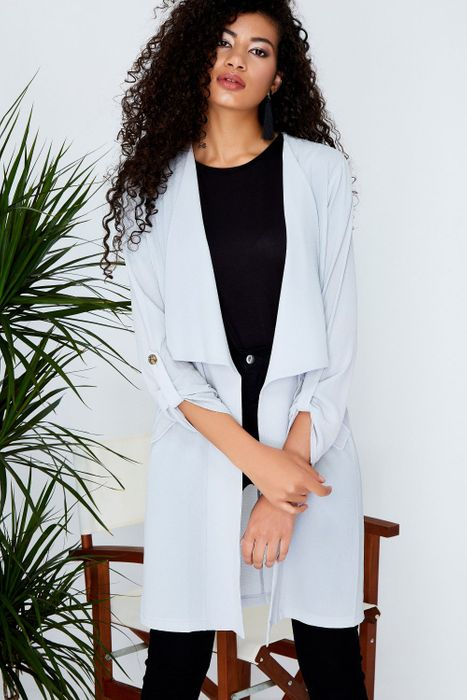 Grey Herb Button Duster Jacket