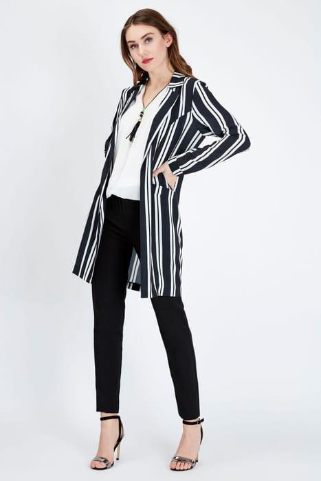 Black Stripe Formal Duster Jacket