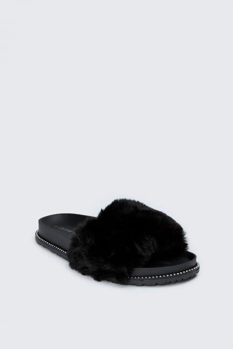 Black Diamant Faux Fur Sliders