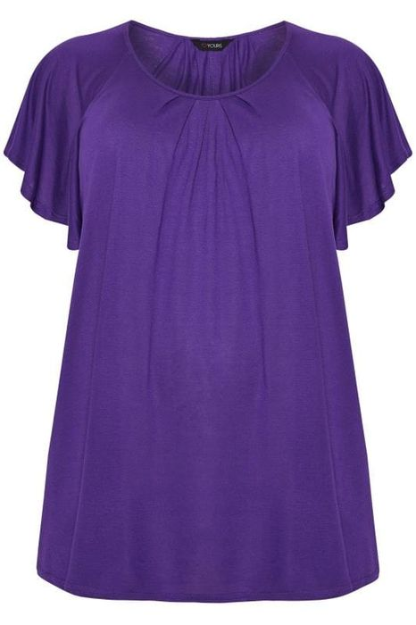 SIZE up Purple Angel Sleeve Jersey Top