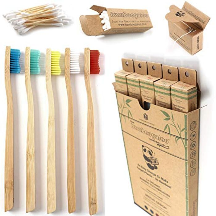 BAMBOOGALOO Organic Bamboo Toothbrushes - 5 Pack with Bamboo