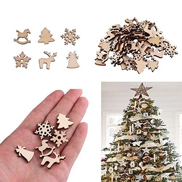 50Pcs Wooden DIY Christmas Tree Snowflake Star -Table Craft