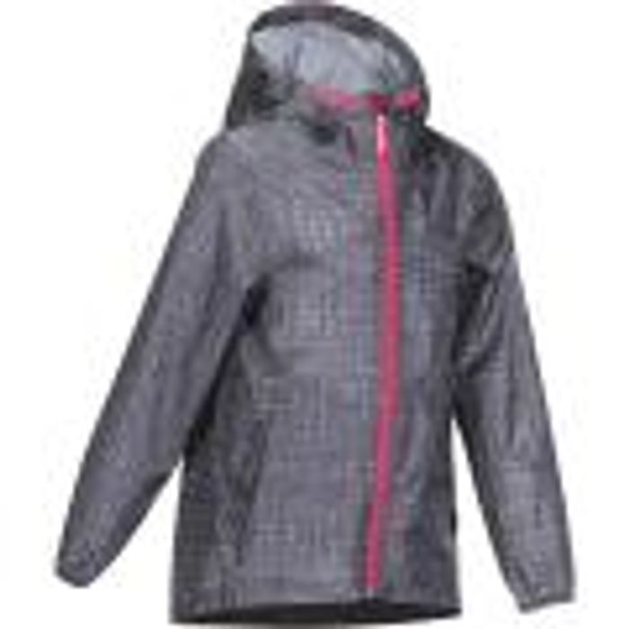 QUECHUA HIKE 150 GIRL'S WATERPROOF JACKET - GREY 4 Years Only