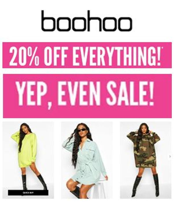 Special Offer at Boohoo - 20% off Everything - Even Sale!