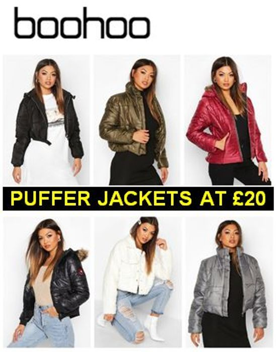 BOOHOO Sale - 70+ Puffer Jackets from £20