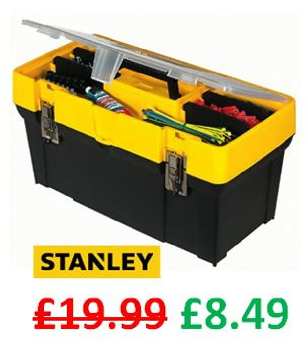 """Stanley 19"""" Toolbox with Metal Latches - ONLY £8.49 with CODE!"""