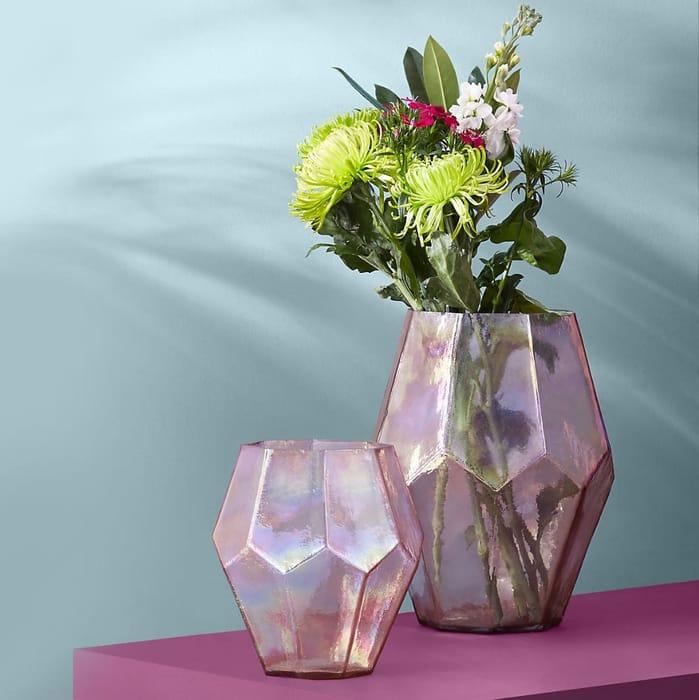 Medium Pink Octagon Glass Vase