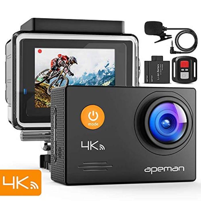 Lightning Deal APEMAN Action Camera 4K WiFi 16MP Waterproof