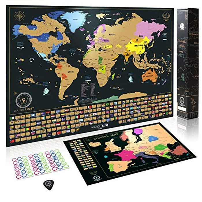 Scratch off World Map Poster + BONUS Europe Map, Accessories and Gift Packaging