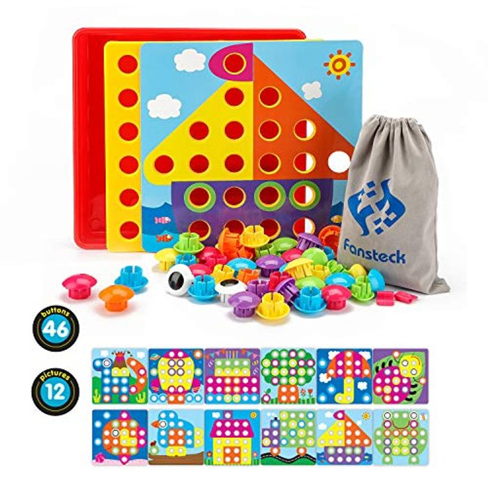 Fansteck Educational Mosaic Pegboard, Early Learning Button Art Game,