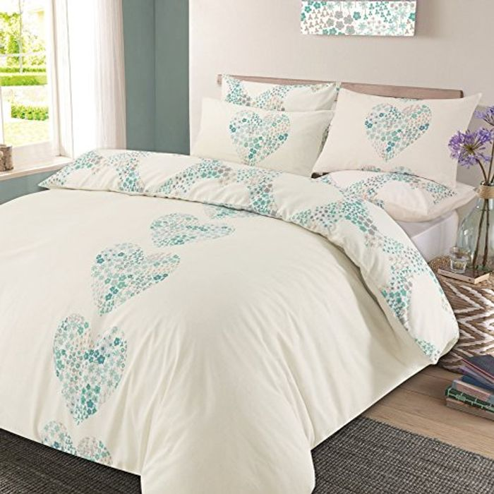 Duvet Cover with Pillow Case Reversible Bedding Set Duck Egg Blue - King