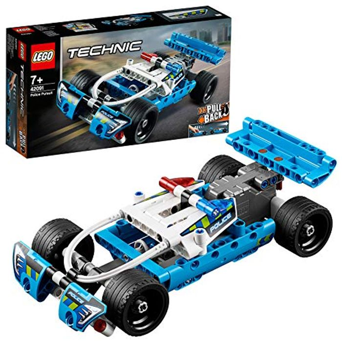LEGOTechnic Police Pursuit Toy Car with Pull-Back Motor Building Set 7+ Yrs Old