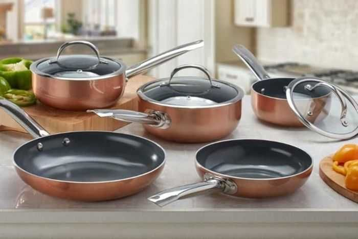 2, 3 or 5 Piece Cooks Professional Copper Ceramic Cookware Set
