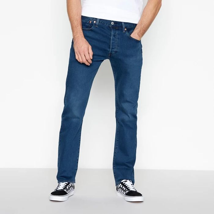Levi's - Blue Advanced Stretch mid Wash '501 Ironwood' Straight Fit Jeans