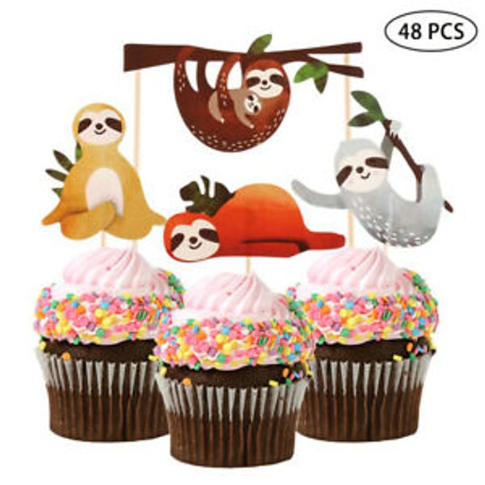Cute 4Pcs Cake Picks Sloth Cupcake Party Decoration Cake Decor Card Plugin Great