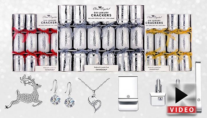 6 or 12 Luxury Christmas Crackers Made with Crystals from Swarovski