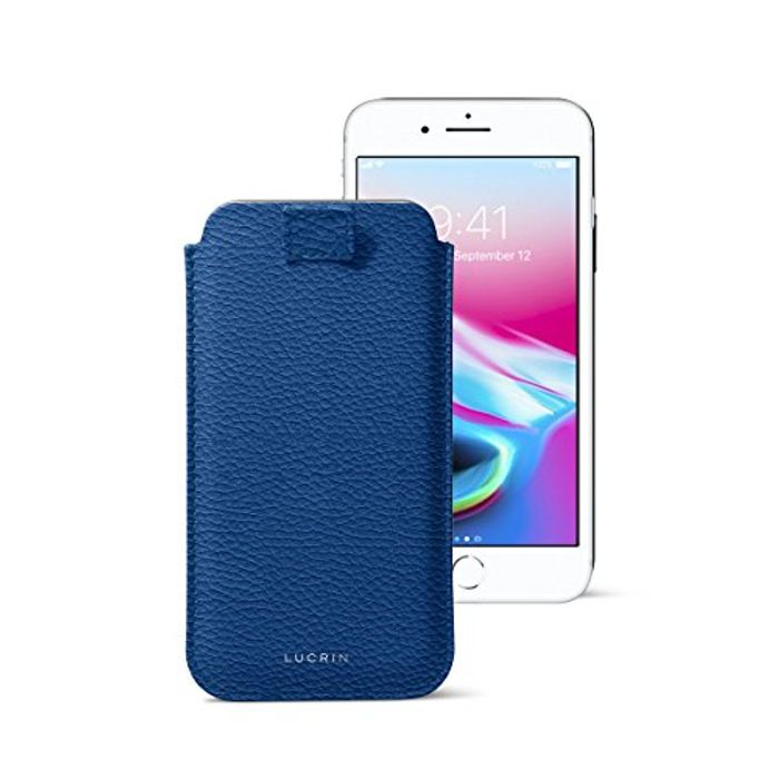 Lucrin - iPhone 7/ 6 Ultra Slim Sleeve, with Pull-up Strap - Royal Blue