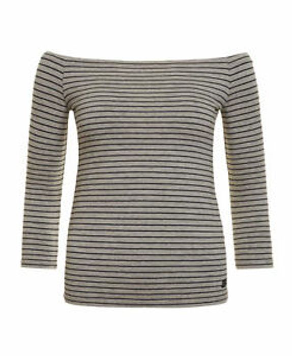 Womens Superdry Factory Second Stripe Bardot Top Outre Grey Marl Stripe (XS)