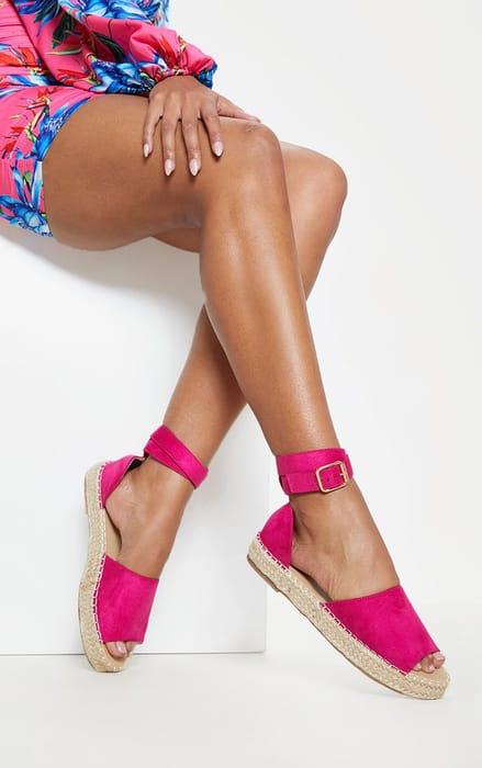 Fuchsia Peep Toe Espadrille Flat Sandal