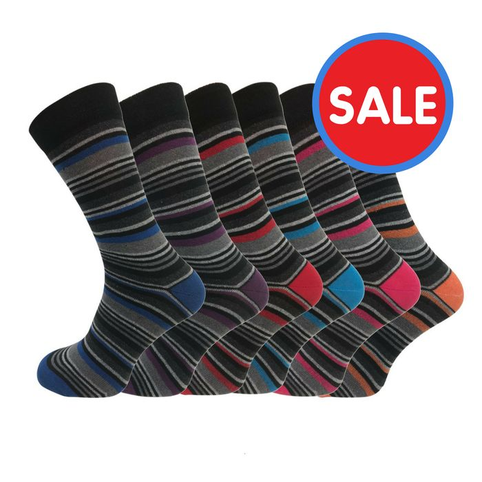 6 X Pairs of Quality Striped Socks - Free Delivery